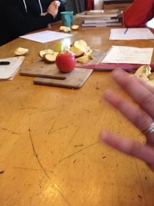 Talking cider apples and tasting cider apples before the pressing begins!