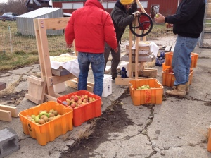 Participants built these beautiful cider presses on the first day of the workshop with Maria from Double Dog Timberwork.