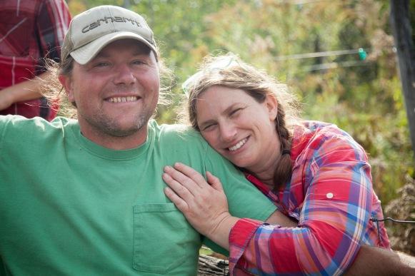 Eric Shatt and Deva Maas, growers at certified biodynamic Redbyrd Orchard. Photo Credit: Jason Koski